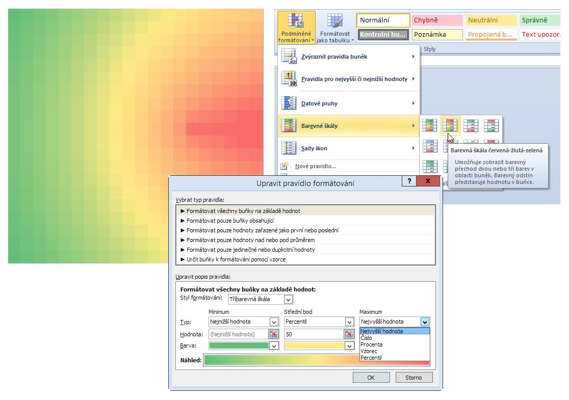 Barevná mapa - podmíněný formát