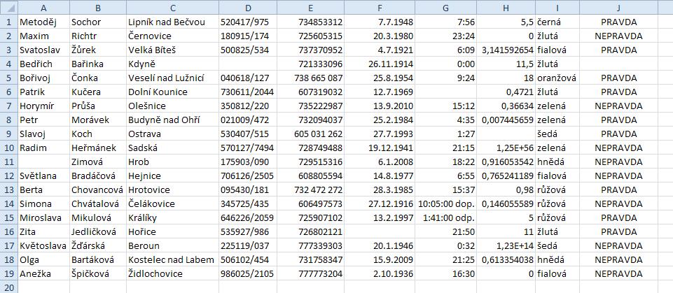 PDF2XL - výsledek podrobnějšího testu