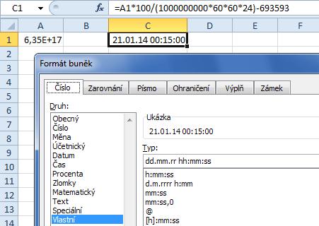 Přepočet Ticks na datum/čas v Excelu
