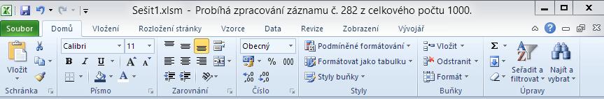Excel - zobrazení průběhu v titulku okna aplikace