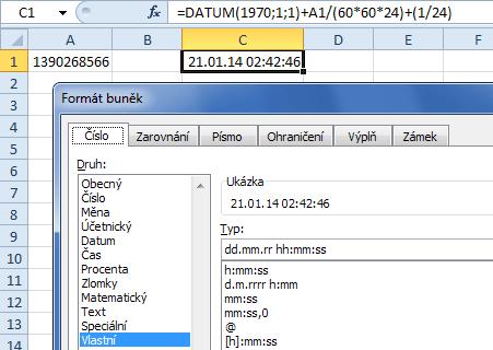 Přepočet UNIX timestamp na datum/čas v Excelu
