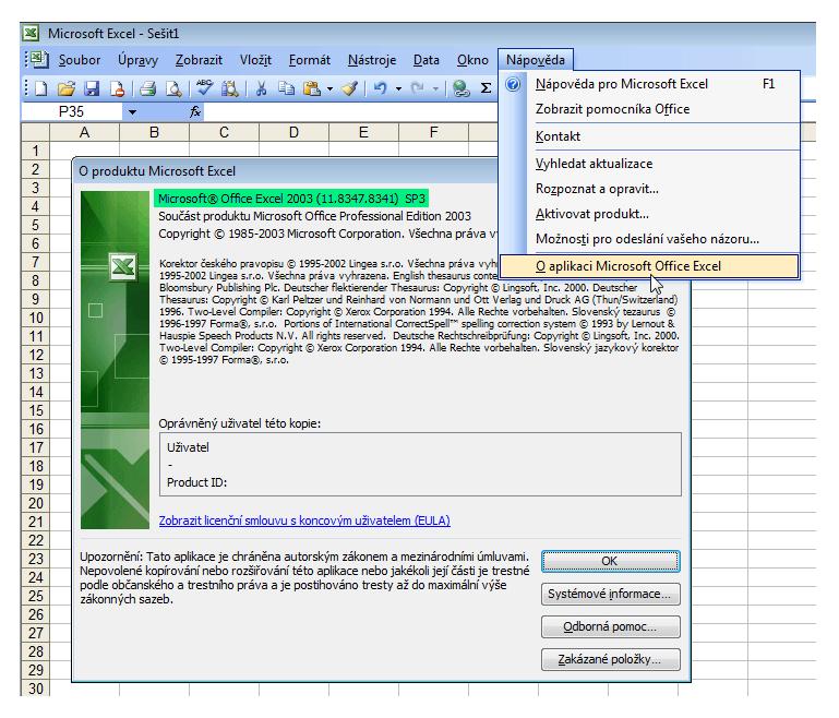 Excel 2003 - podrobnosti o verzi