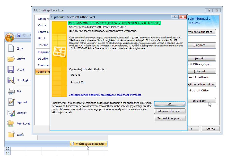 Excel 2007 - podrobnosti o verzi