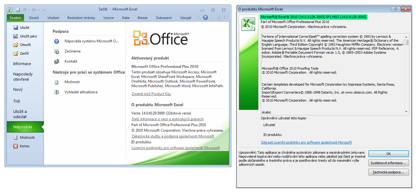 Excel 2010 - podrobnosti o verzi