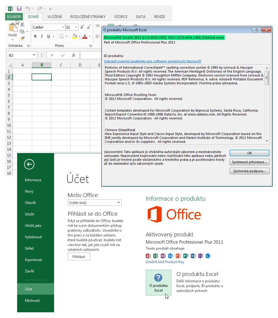 Excel 2013 - podrobnosti o verzi