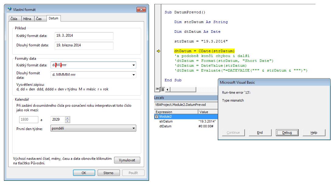 Excel - krátký formát datumu s mezerami