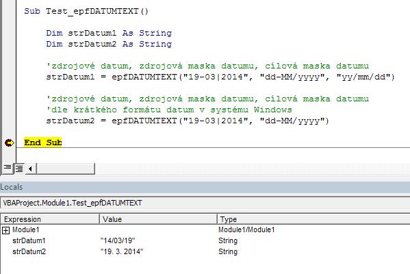 Excel - vlastní funkce pro datum zadané textem