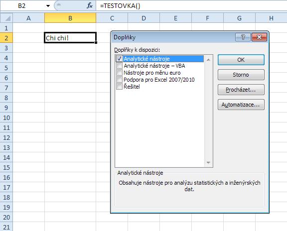 Vlastní funkce - aktivace doplňku