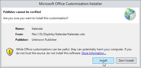 Kalendář .NET - instalace