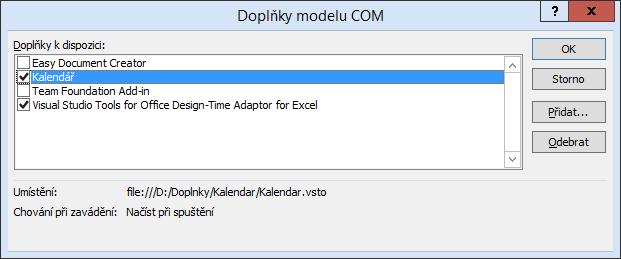 Kalendář .NET - Doplňky modelu COM