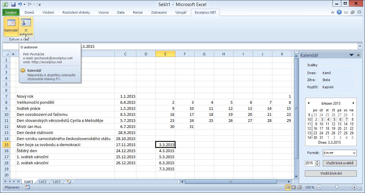 Kalendář .NET v akci