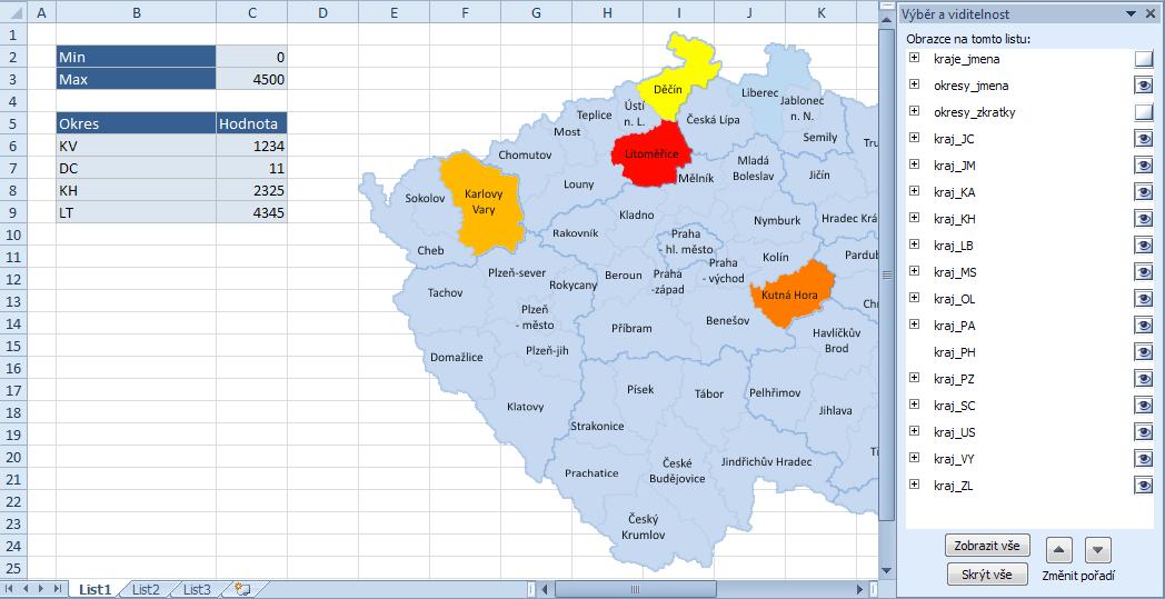 Excel - mapa intenzity