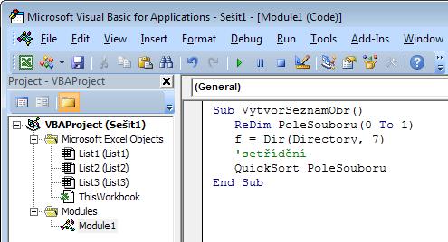 Programový kód v editoru VBA
