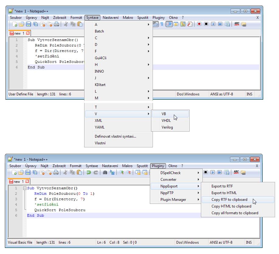 Obarvení kódu a jeho export v programu Notepad++