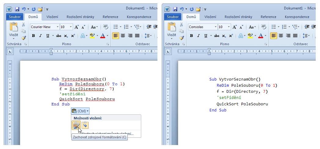 Microsoft Word - vložení programového kódu ze schránky