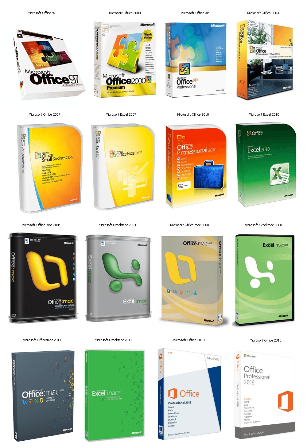 Microsoft Office - historie - krabicové verze