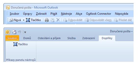 Tlačítko v Microsoft Outlook 2007 a 2010