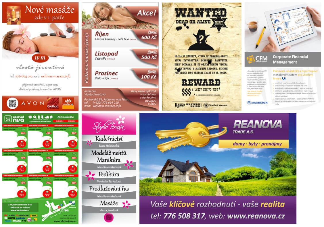 Plakáty, letáky, billboard