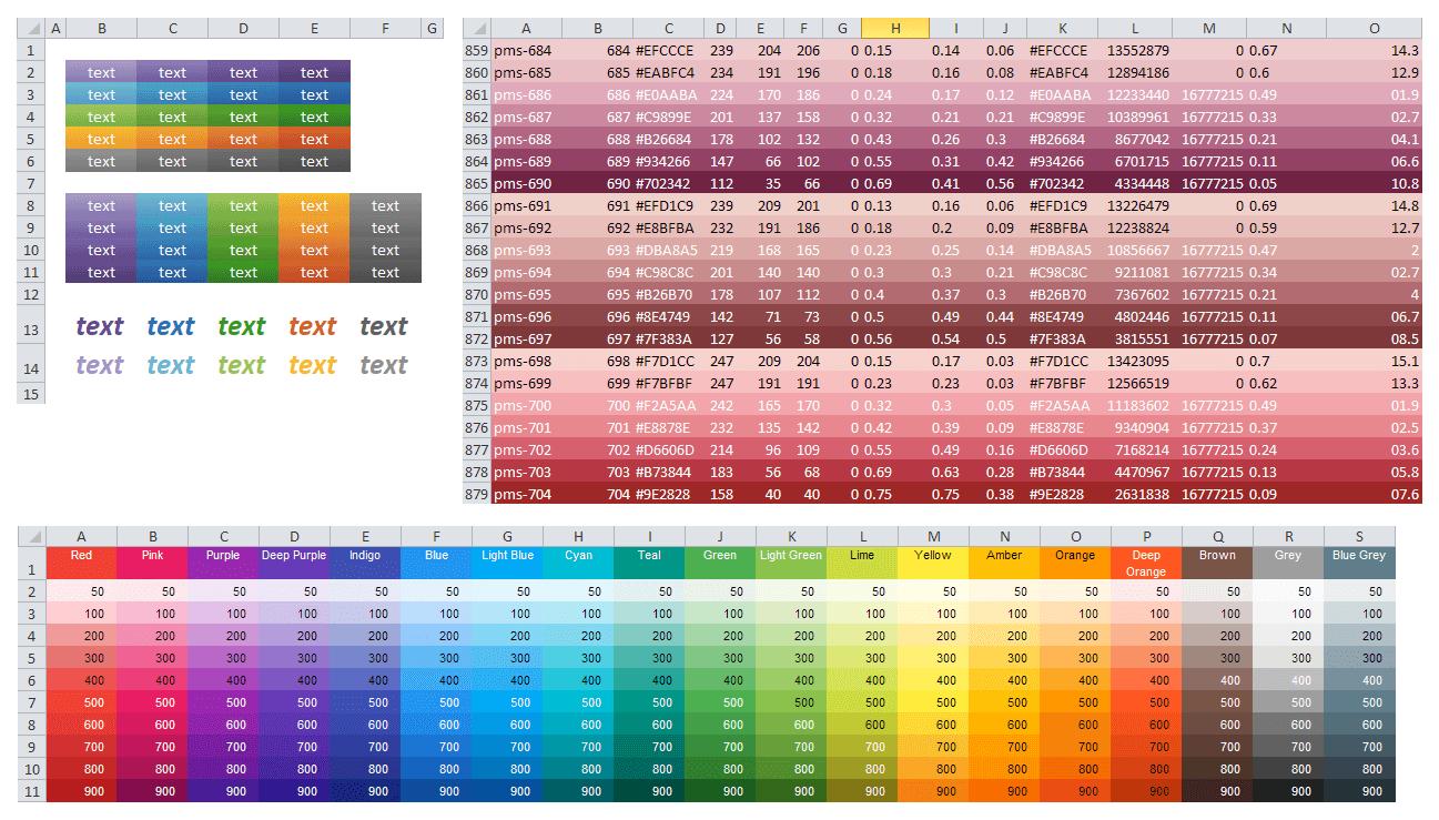 Gradient v buňkách, barevné palety