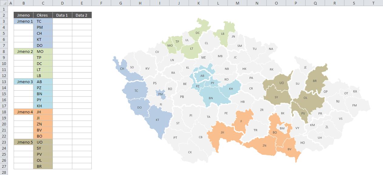 Infografika podporovaná VBA - mapa ČR