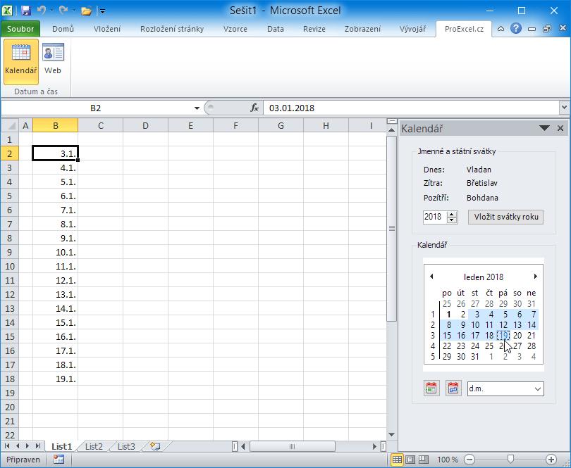 Kalendář PE - vkládání jednoho či více datumů z kalendáře