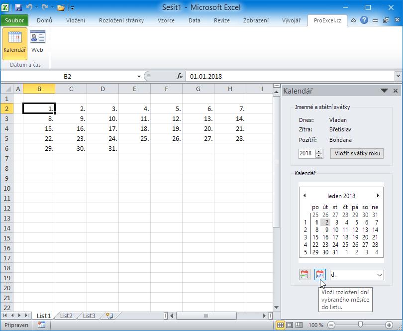 Kalendář PE - vkládání bloku datumů měsíce v týdenním uspořádání