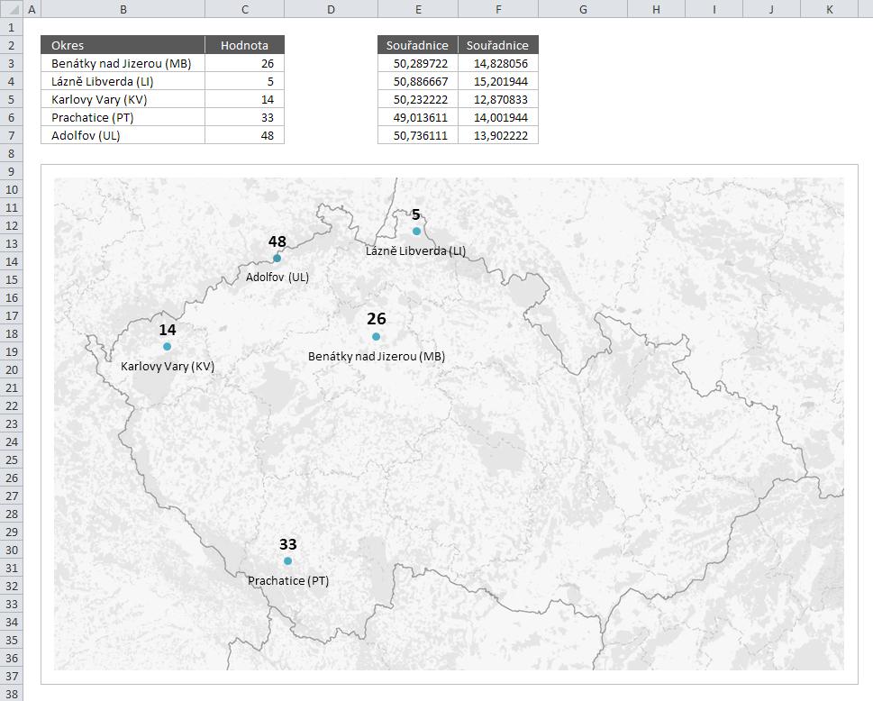 Mapa ČR - XY bodový graf