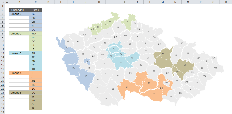 Mapa PE - Příklad 2