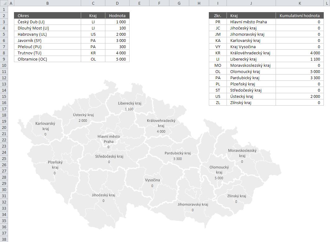 Mapa PE - Příklad 3