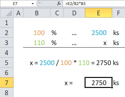 Procenta v Excelu - Příklad 2b