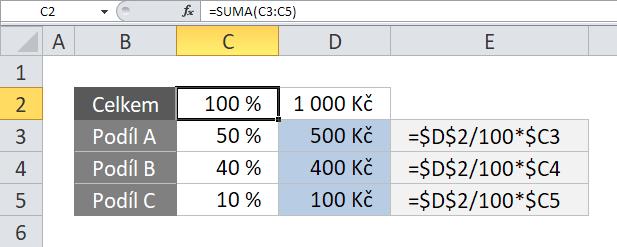 Procenta v Excelu - Příklad 3