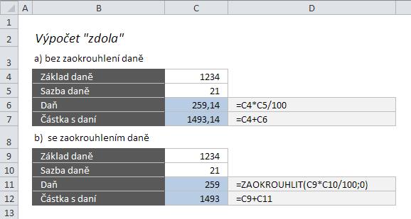 """Výpočet DPH v Excelu """"zdola"""""""