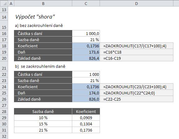 """Výpočet DPH v Excelu """"shora"""""""