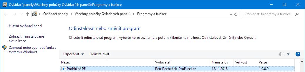 Prohlížeč PE - instalace