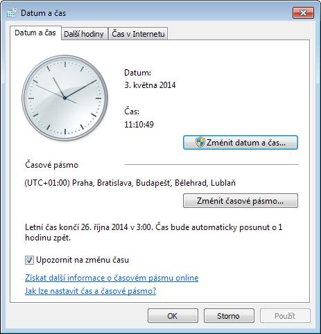 Dialog Datum a čas