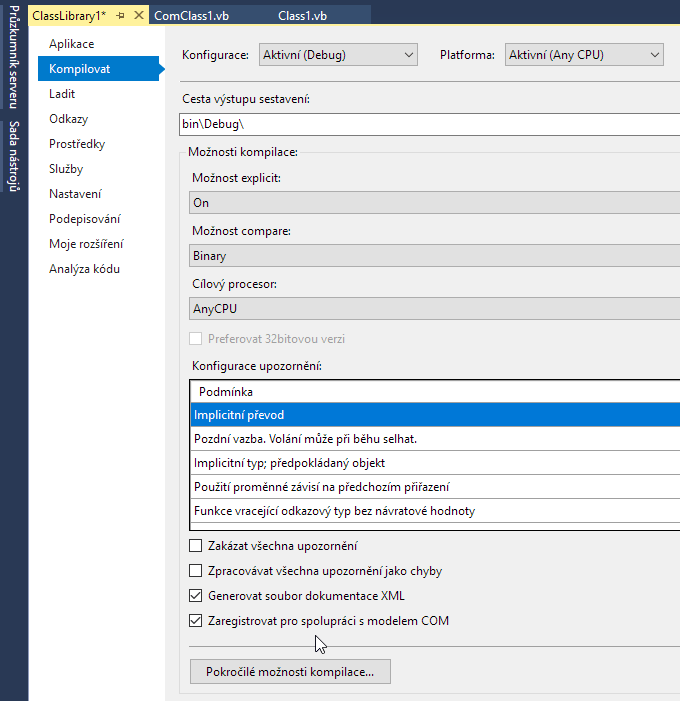 Visual Studio - registrace COM