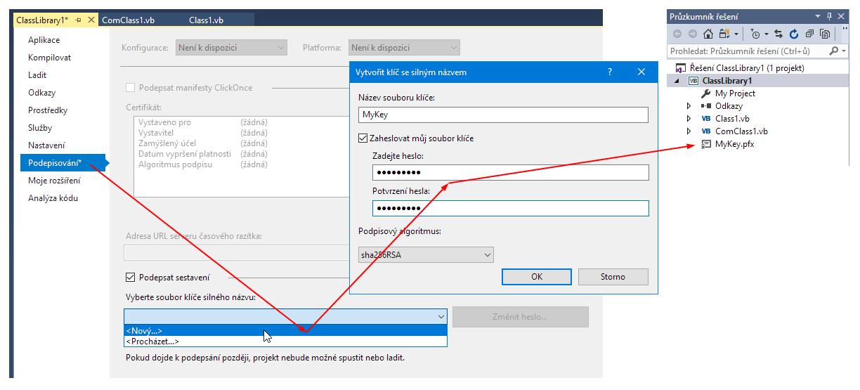 Visual Studio - podepsání projektu